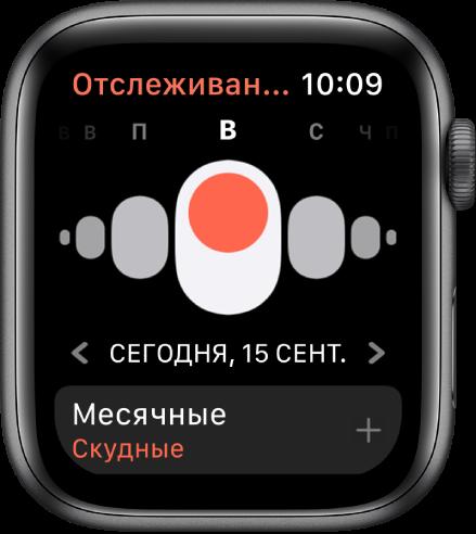 Экран приложения «Отслеживание цикла». Вверху показаны дни недели, под ними показана текущая дата, а внизу находится кнопка «Месячные».