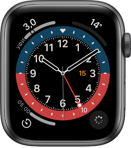 Циферблат GMT, для которого Вы можете выбрать цвет. Показаны четыре расширения: «УФ-индекс» вверху слева, «Температура» вверху справа, «Таймер» внизу слева и «Отслеживание цикла» внизу справа.