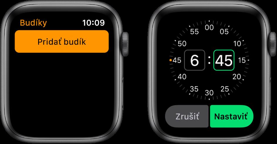 Dve obrazovky hodiniek zobrazujúcich proces pridania budíka: Klepnite na Pridať Budík, klepnite na AM alebo PM, otočením korunky Digital Crown upravte čas aklepnite na Nastaviť.