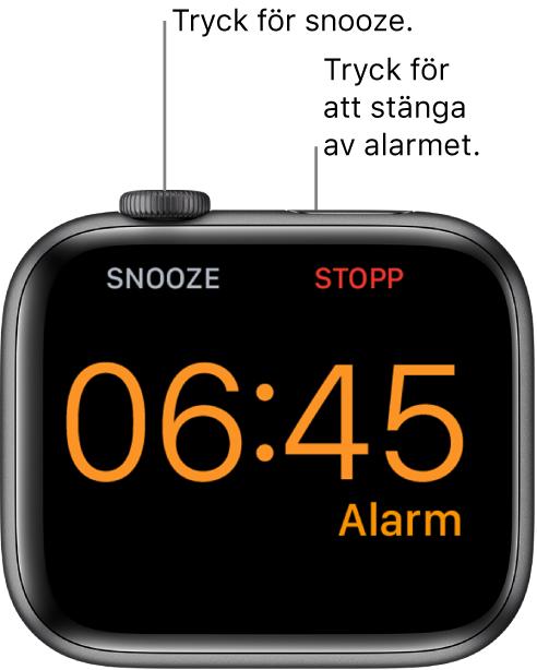 En AppleWatch som ligger på sidan med skärmen som visar ett alarm som har aktiverats. Under DigitalCrown visas ordet Snooze. Ordet Stopp visas under sidoknappen.