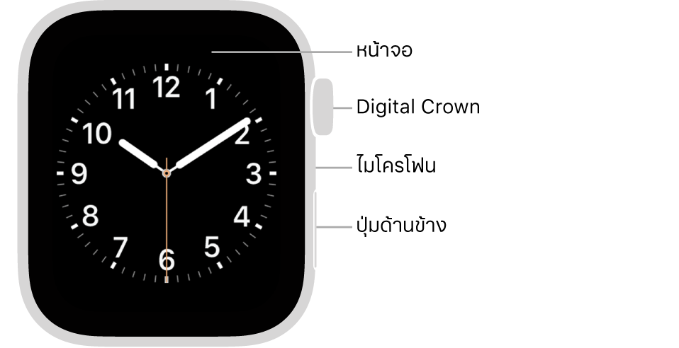 ด้านหน้าของ Apple Watch Series 6 ที่มีหน้าจอที่แสดงหน้าปัดนาฬิกา และมี Digital Crown, ไมโครโฟน และปุ่มด้านข้างอยู่ที่ด้านข้างของนาฬิกาจากด้านบนสุดถึงด้านล่างสุด