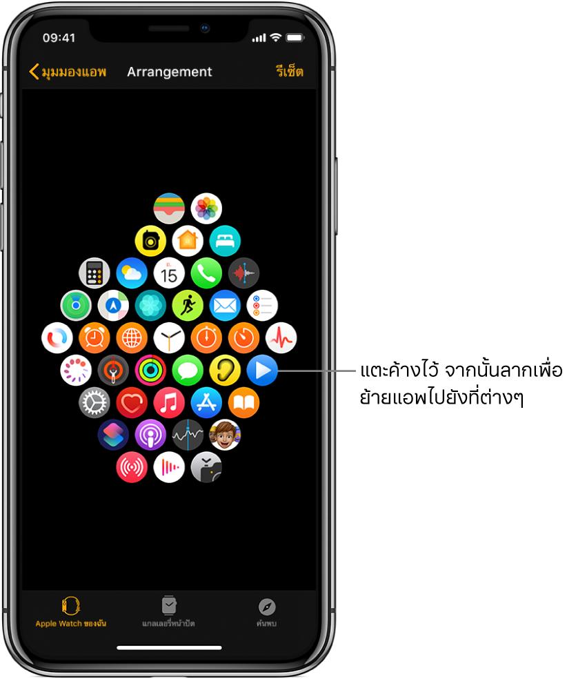 หน้าจอการจัดเรียงในแอพ Apple Watch ที่แสดงไอคอนในรูปแบบตาราง