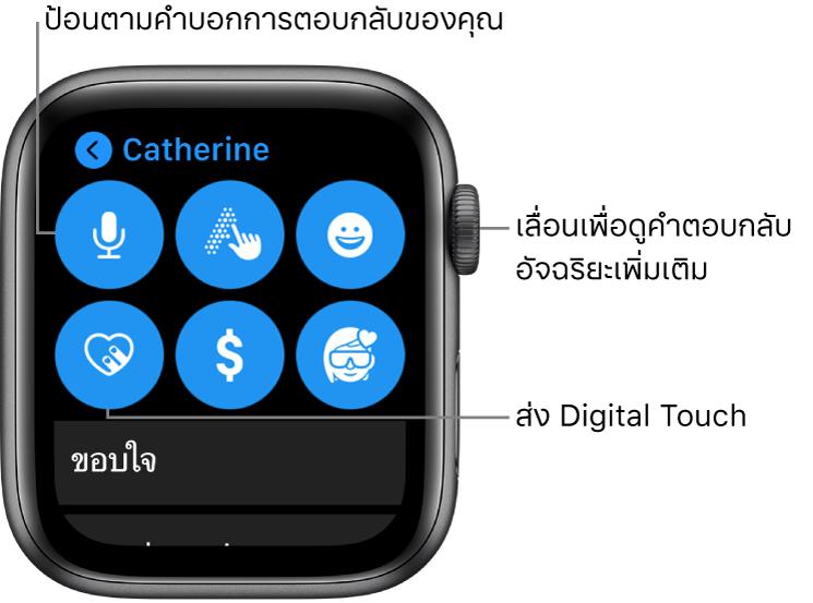 หน้าจอตอบกลับที่แสดงปุ่มป้อนตามคำบอก, ขีดเขียนข้อความ, อิโมจิ, Digital Touch, Apple Pay และ Memoji การตอบกลับอัจฉริยะอยู่ด้านล่าง หมุน Digital Crown เพื่อดูการตอบกลับอัจฉริยะ
