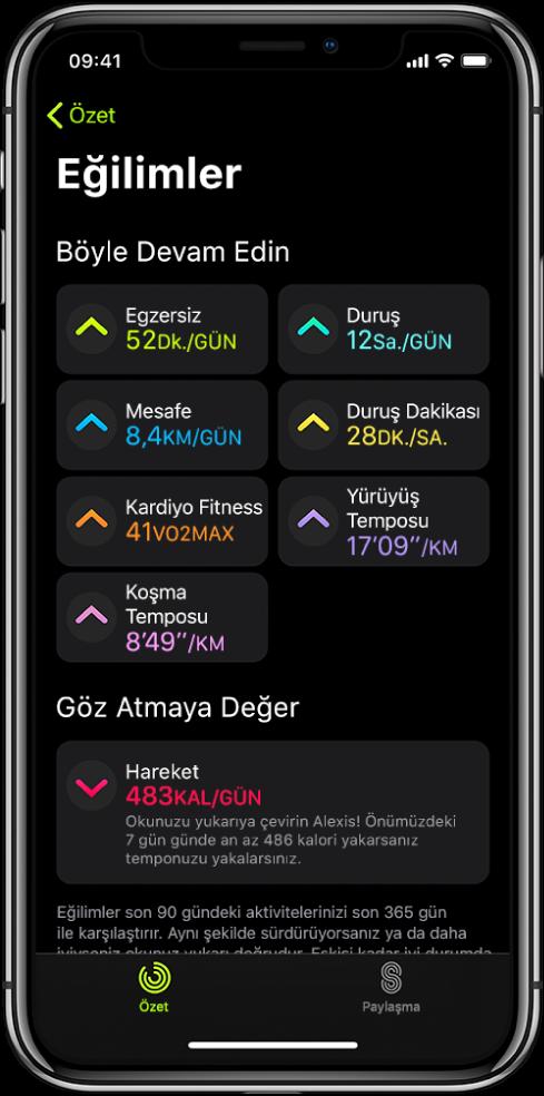 iPhone'daki Aktivite uygulamasında Trendler sekmesi. Ekranın üst tarafına doğru Trendler başlığı altında birkaç ölçü görünür. Ölçüler Egzersiz, Duruş, Mesafe vb. içerir. Bakmaya Değer başlığı altında hareket görünür.