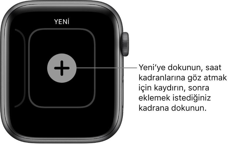 Ortasında artı düğmesi bulunan yeni saat kadranı ekranı. Yeni bir saat kadranı eklemek için dokunun.