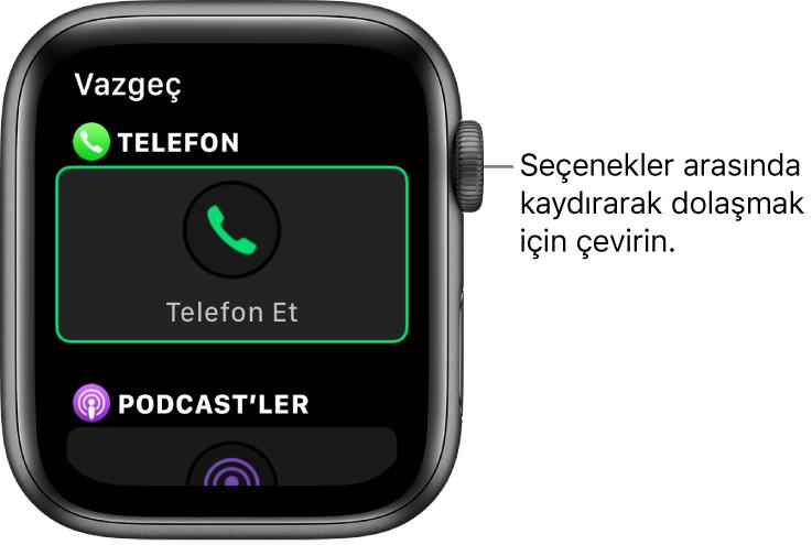 Telefon komplikasyonu vurgulanmış olarak saat kadranını özelleştirme ekranı. Komplikasyonlara göz atmak için Digital Crown'u çevirin.