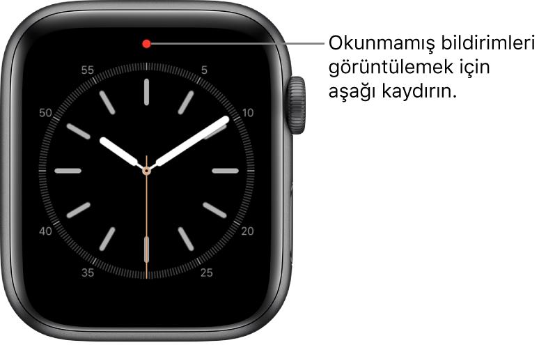 Okunmamış bir bildiriminiz olduğunda saat kadranının üst orta kısmında kırmızı bir nokta görünür.