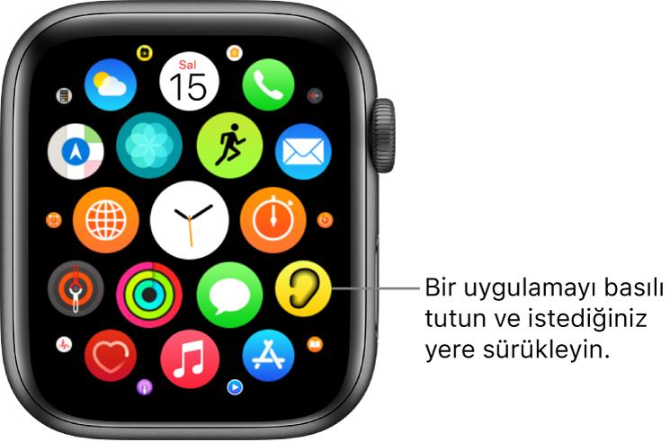 Izgara görüntüsündeki Apple Watch ana ekranı.