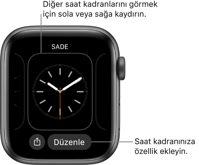 Saat kadranını basılı tuttuğunuzda, en altta Paylaş ve Düzenle düğmeleri olmak üzere kullanmakta olduğunuz kadranı görürsünüz. Diğer saat kadranı seçeneklerini görmek için sola veya sağa kaydırın. İstediğiniz özellikleri eklemek için bir komplikasyona dokunun.