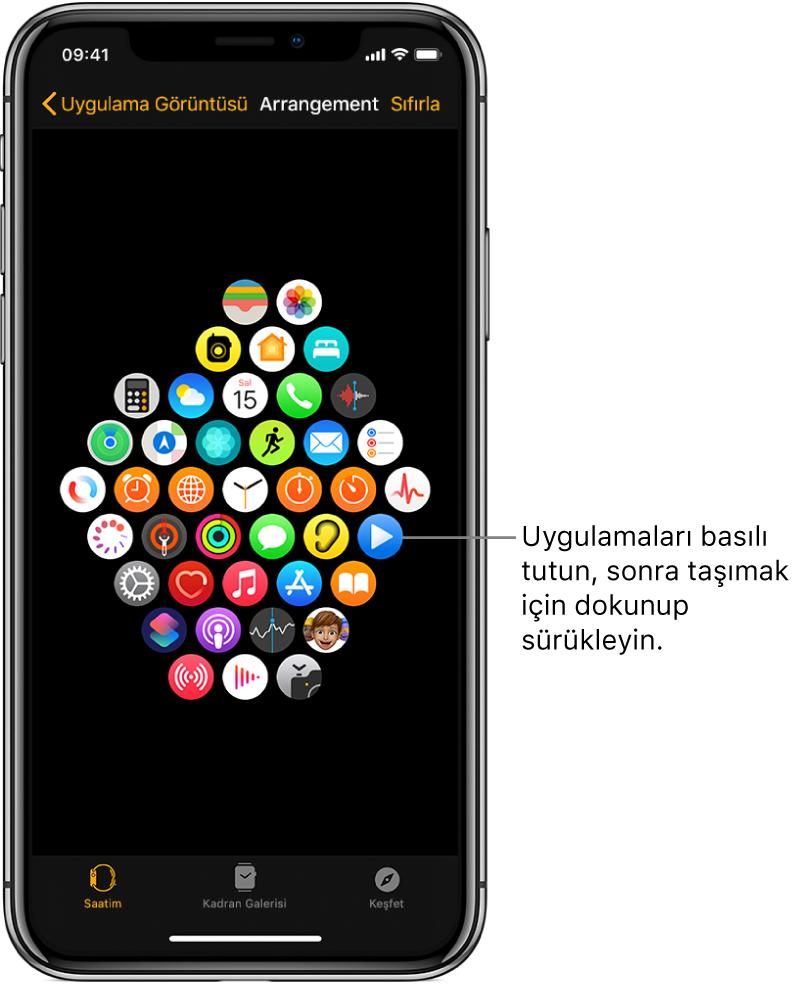 Izgara görüntüsünde simgelerin gösterildiği Apple Watch uygulamasındaki Yerleşim ekranı.