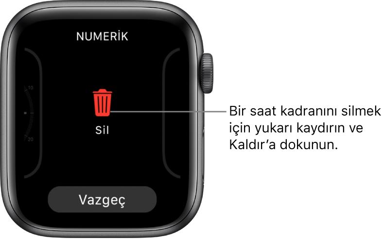 Ekranı bir saat kadranına kaydırdıktan ve bu kadranı silmek üzere yukarı sürükledikten sonra beliren Sil ve Vazgeç düğmelerini gösteren AppleWatch ekranı.