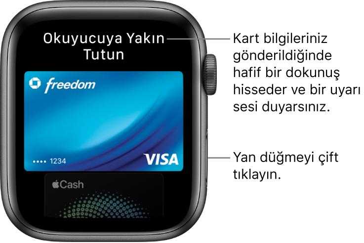 """En üstte """"Okuyucuya Yakın Tutun"""" ifadesini gösteren ApplePay ekranı; kart bilgileriniz gönderildiğinde hafif bir dokunuş hisseder ve bir bip sesi duyarsınız."""