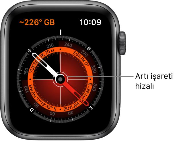 Apple Watch kadranındaki pusula. Sol üstte rota var. İçteki daire; yüksekliği, eğimi, enlemi ve boylamı görüntülüyor. Kuzeyi, güneyi, doğuyu ve batıyı gösteren beyaz artı işareti görünüyor.