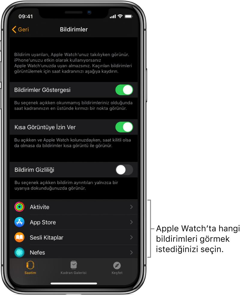 iPhone'daki Apple Watch uygulamasında bildirim kaynaklarını gösteren Bildirimler ekranı.