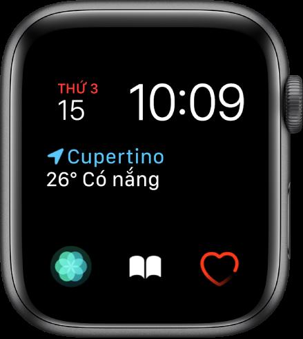 Mặt đồng hồ Mô-đun, nơi bạn có thể điều chỉnh màu của mặt đồng hồ. Mặt đồng hồ này hiển thị thời gian và ngày ở gần đầu, tổ hợp Điều kiện thời tiết ở giữa và ba tổ hợp đĩa số phụ ở cạnh dưới: Hô hấp, Sách nói và Nhịp tim.