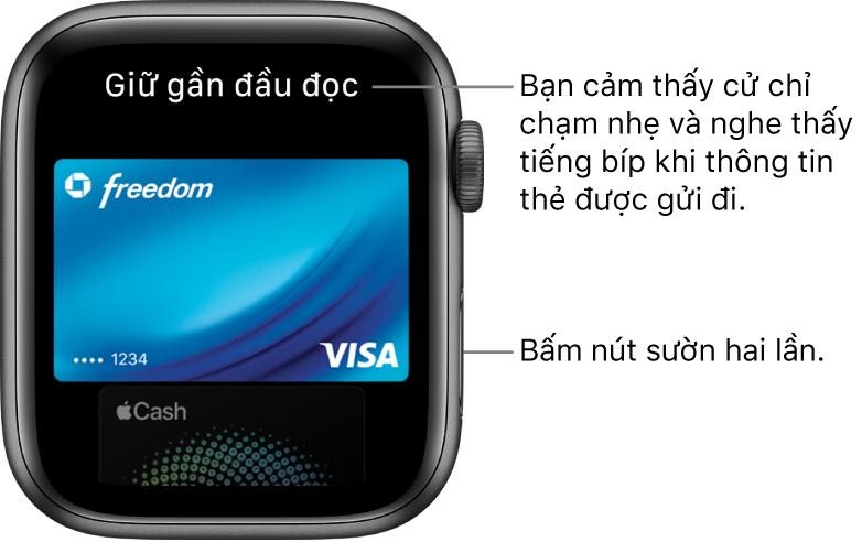 """Màn hình Apple Pay với """"Giữ gần đầu đọc"""" ở trên cùng; bạn cảm thấy một cử chỉ chạm nhẹ và nghe thấy tiếng bíp khi thông tin thẻ được gửi đi."""