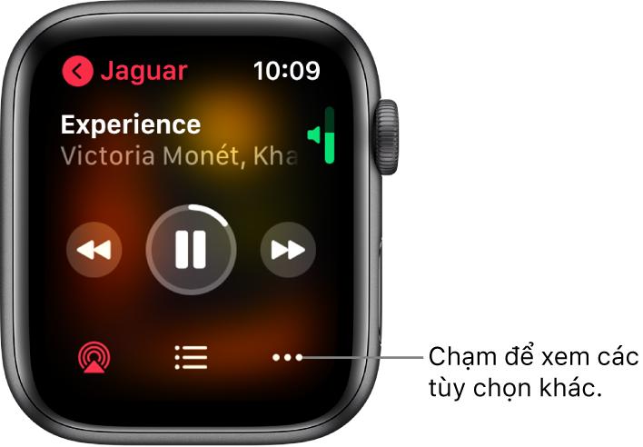 Màn hình Đang phát trong ứng dụng Nhạc. Tên album ở trên cùng bên trái. Tiêu đề bài hát và nghệ sĩ xuất hiện ở trên cùng, các điều khiển phát ở giữa, các nút AirPlay, danh sách bài và Tùy chọn ở dưới cùng.
