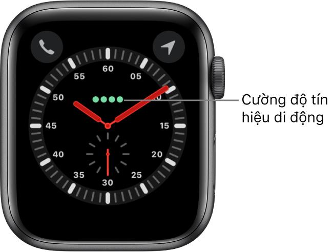 Mặt đồng hồ Nhà thám hiểm là một đồng hồ kim. Ngay phía trên tâm của mặt đồng hồ là bốn dấu chấm màu lục biểu thị cường độ tín hiệu di động.