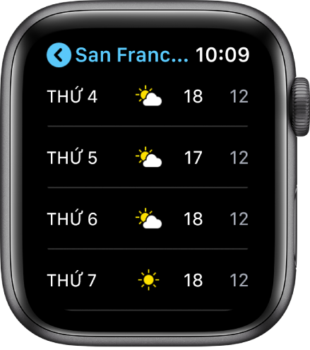 Ứng dụng Thời tiết đang hiển thị dự báo tuần.