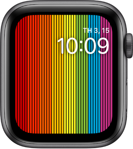 Mặt đồng hồ Pride (Số) đang hiển thị các dải cầu vồng dọc với thời gian ở trên cùng bên phải.