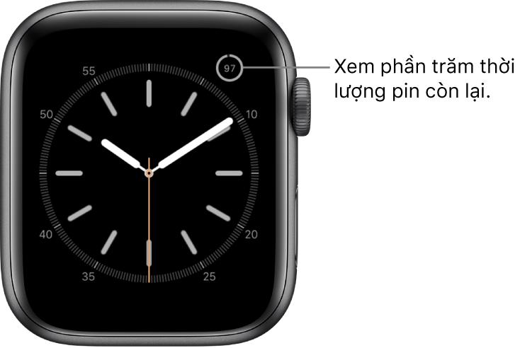Mặt đồng hồ hiển thị tổ hợp phần trăm pin ở góc trên cùng bên phải.