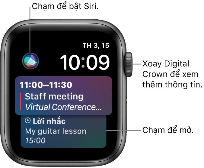 Mặt đồng hồ Siri đang hiển thị lời nhắc và một sự kiện trên lịch. Nút Siri ở trên cùng bên trái của màn hình. Ngày và giờ ở trên cùng bên phải.