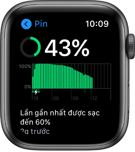 Trên màn hình Pin, bạn nhìn thấy điện tích pin còn lại, một biểu đồ sử dụng pin theo thời gian và thời điểm pin được sạc đến 60% gần đây nhất.