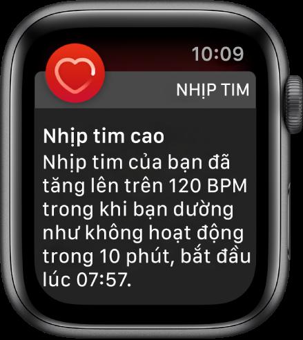 Một cảnh báo Nhịp tim, cho biết một nhịp tim cao.