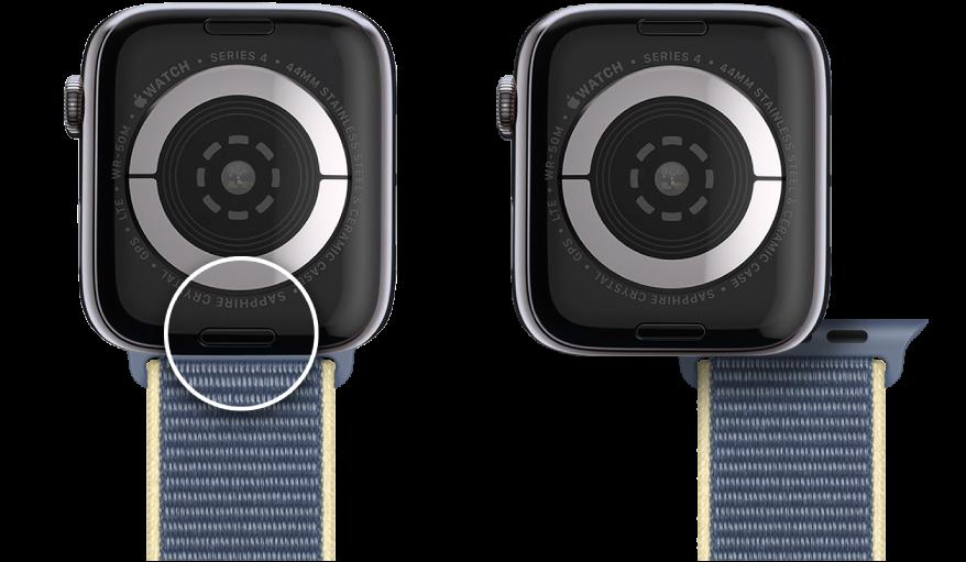两张 AppleWatch 图像。左侧图像显示表带释放按钮。右侧图像显示部分插入表带槽的表带。