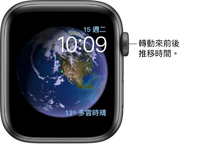 「天文」錶面,會顯示星期、日期和目前時間。「天氣」複雜功能位於右下角。轉動數位錶冠來往前或往後推移時間。