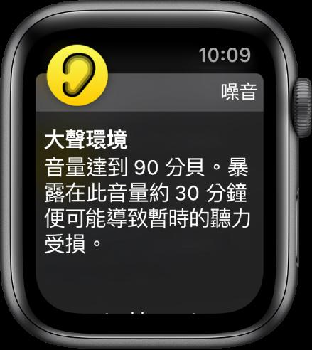 「噪音」螢幕顯示分貝數為 100 dB。下方顯示長期暴露於此音量的警告。