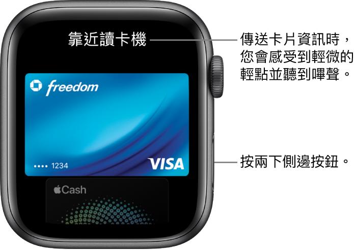 ApplePay 畫面最上方帶有「靠近讀卡機」;當您的卡片資訊已傳送時,您會感覺到輕點並聽見嗶聲。