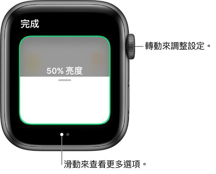 「家庭」App 顯示燈泡亮度的設定。