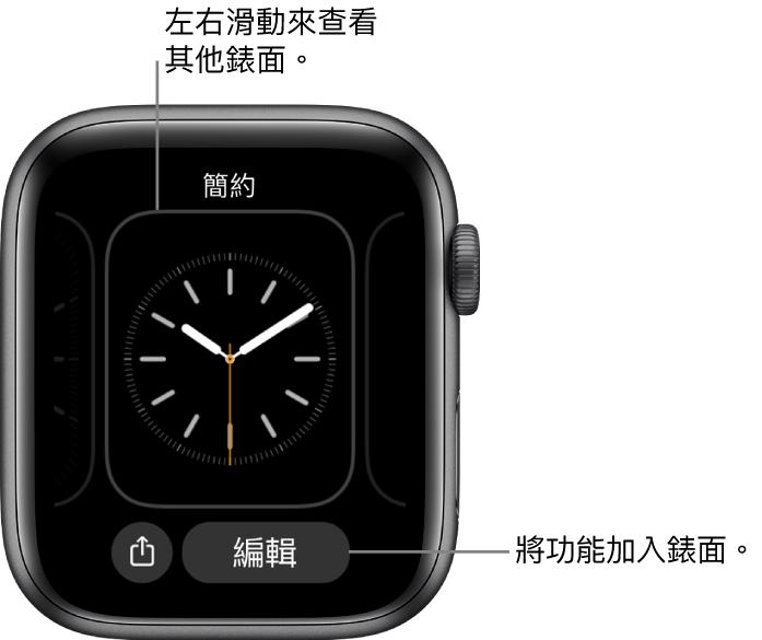 當您按住錶面時,您會看見目前的錶面,底部帶有「分享」和「編輯」按鈕。左右滑動來查看其他錶面選項。點一下複雜功能來加入您要的功能。