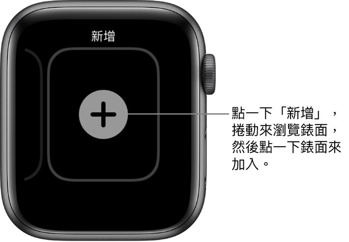 新的錶面畫面,中央帶有加號按鈕。點一下來加入新錶面。