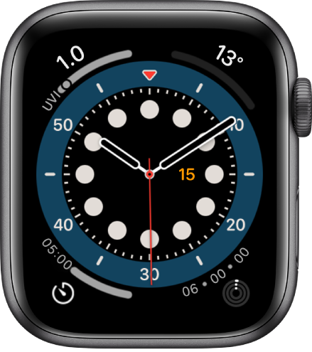 「正數計時」錶面。顯示四個複雜功能:「紫外線指數」位於左上角、「氣溫」位於右上角、「計時器」位於左下角,以及「活動記錄」位於右下角。