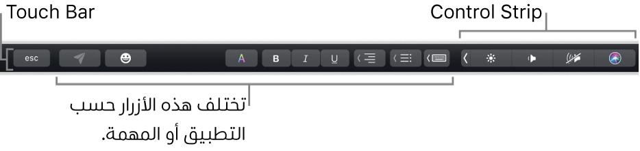 الـTouchBar على امتداد الجزء العلوي من لوحة المفاتيح، وتظهر به أزرار تختلف حسب التطبيق أو المهمة على اليسار، والـControlStrip المطوي على اليمين.