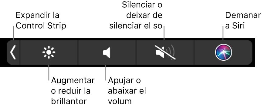 La Control Strip contreta inclou botons, d'esquerra a dreta, per ampliar la Control Strip, augmentar o reduir la brillantor de la pantalla i el volum, silenciar o activar el so i demanar a Siri.