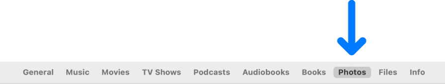 La barra de botons en què es mostra el botó Fotos seleccionat.