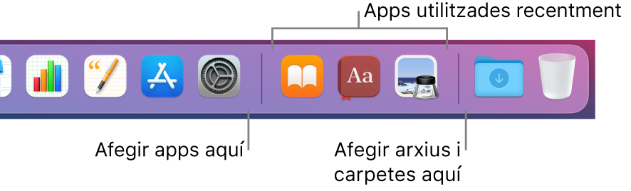L'extrem dret del Dock mostra les línies separadores que hi ha abans i després de la secció d'apps usades fa poc.
