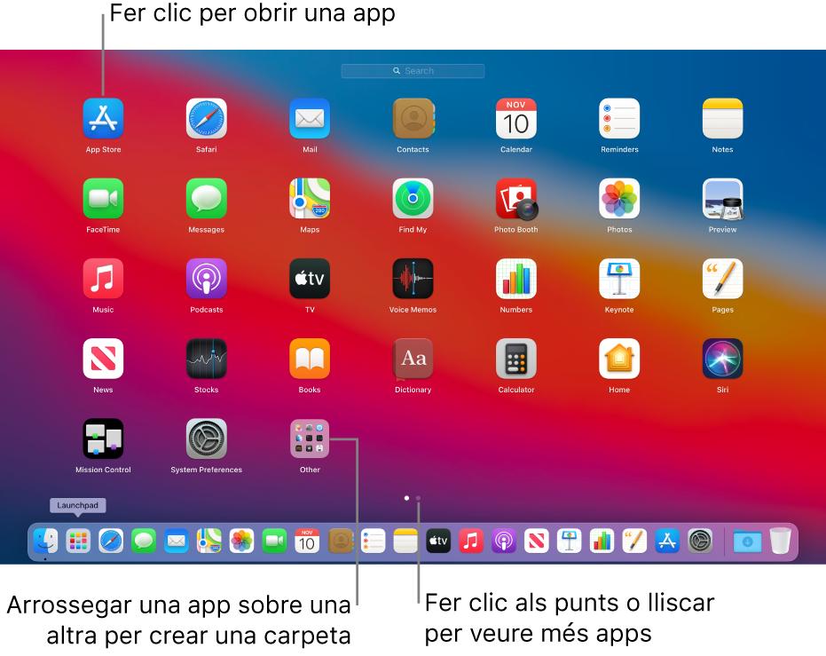 El Launchpad mostra les apps que pots obrir.