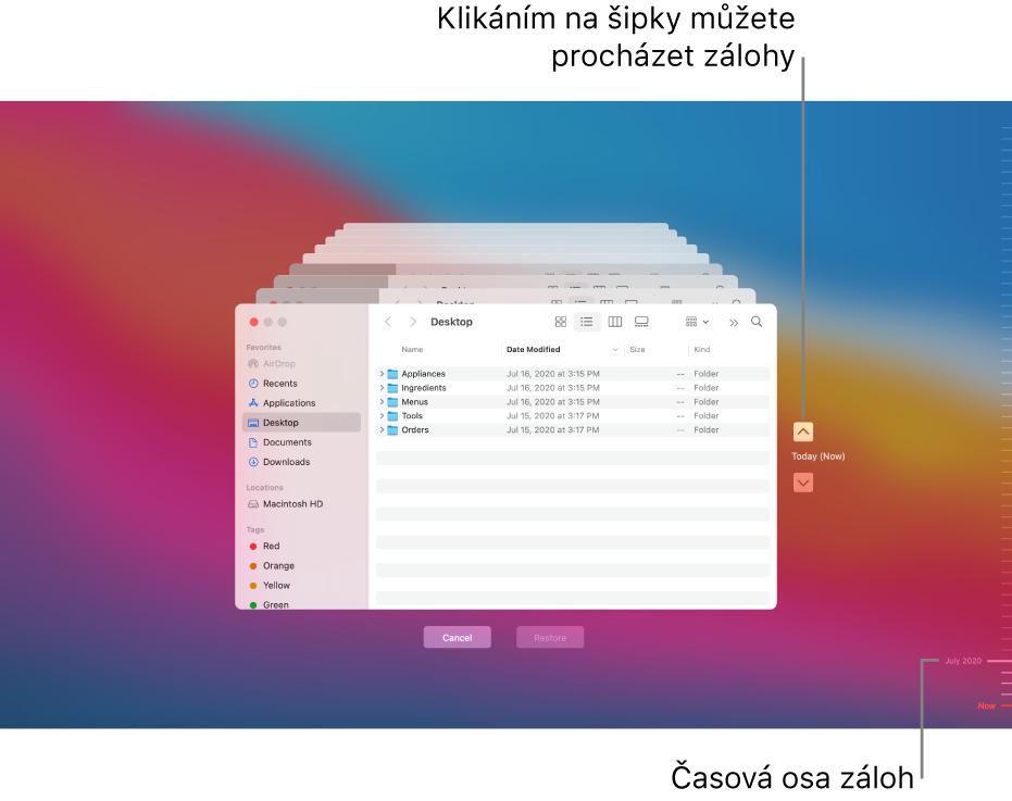 Po otevření Time Machine uvidíte obrazovku srozostřeným pozadím, na němž jsou naskládána okna Finderu reprezentující jednotlivé zálohy. Klikáním na šipky můžete procházet zálohy (lze také kliknout na časovou osu záloh vpravo) amůžete vybrat soubory, které chcete obnovit.