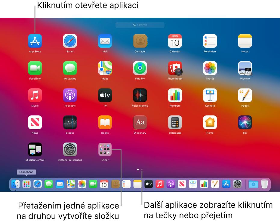 Launchpad zobrazující aplikace, které lze otevřít.