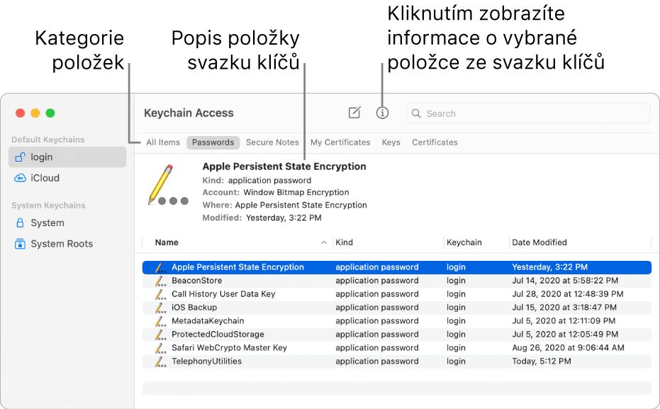 """Okno Klíčenky se zobrazenými svazky klíčů na bočním panelu. Napravo je vidět popis hesla pro vybraný svazek klíčů """"přihlášení""""."""