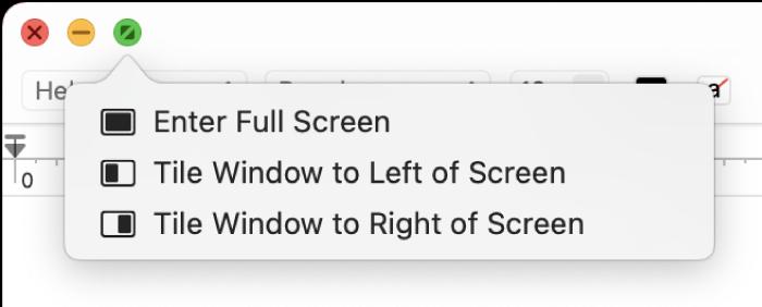 Nabídka, která se zobrazí, když přesunete ukazatel na zelené tlačítko vlevém horním rohu okna. Příkazy nabídky shora dolů: Spustit režim celé obrazovky, Umístit okno na levou stranu obrazovky, Umístit okno na pravou stranu obrazovky