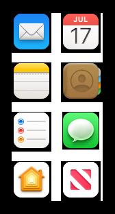 Symboler for Mail, Kalender, Noter, Kontakter, Påmindelser, Beskeder, Hjem og News