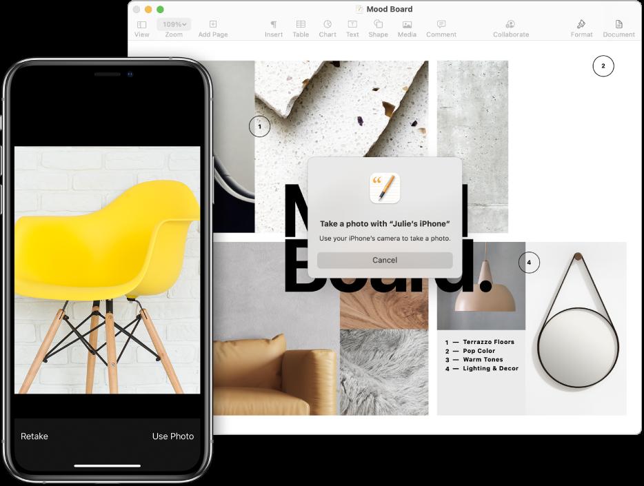 Et fotografi på en iPhone og samme fotografi indsat i et dokument på en Mac.
