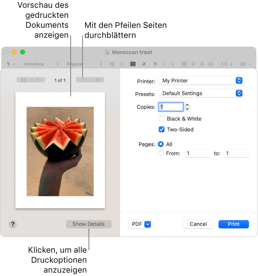 """Das Dialogfenster """"Drucken"""" enthält eine Vorschau deines Druckauftrags. Klicke auf """"Details einblenden"""", um alle Druckoptionen zu sehen."""