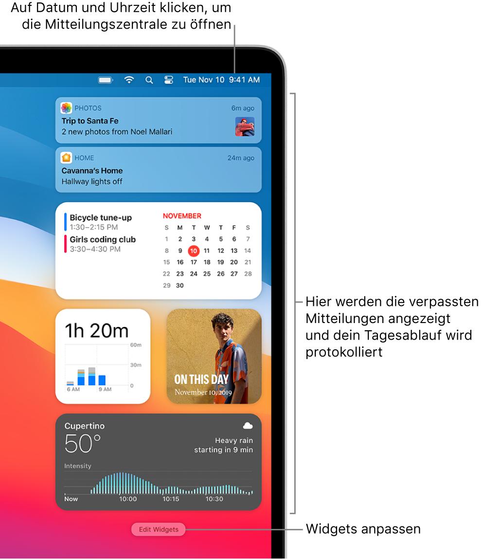 Mitteilungen und Widgets in der Mitteilungszentrale.