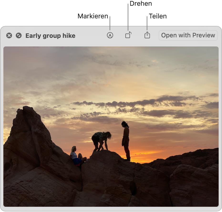 """Ein Bild im Fenster """"Übersicht"""" mit Tasten zum Markieren, Drehen oder Teilen des Bilds oder zum Öffnen des Bilds in der App """"Vorschau""""."""
